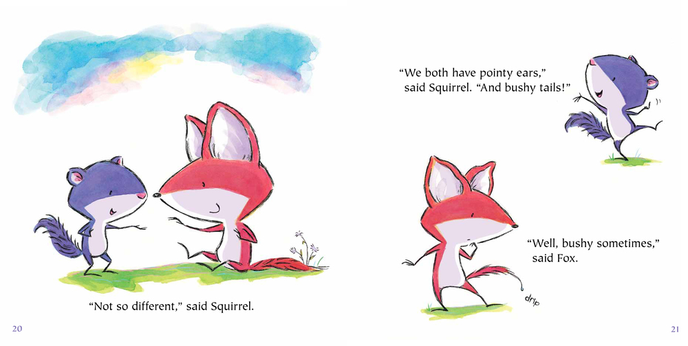 "(c) 2015 ruth ohi /""Fox and squirrel"" (scholastic canada) / ruthohi.com / twitter: @ruth_ohi"