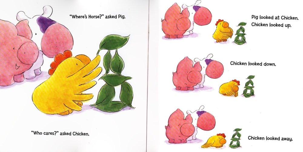 "(C) 2015 Ruth ohi /""Chicken,Pig, cow horse around"" (Annick Press) / Ruthohi.com"