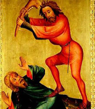 The killing of Abel, detail from the Grabower Altarpiece, 1379-83 (tempera on panel), Master Bertram of Minden (c.1345-c.1415) / Hamburger Kunsthalle, Hamburg, Germany