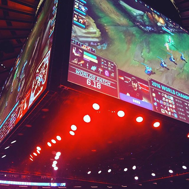 In the middle of the action at #worlds with @lolesports