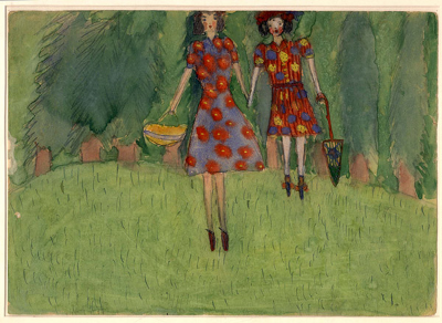 Nelly Toll (b. 1935), Girls in the Field, Lvov, 1943. Watercolor on paper. Collection of the Yad Vashem Art Museum, Jerusalem