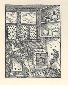 A typecaster of centuries past, pouring molten metal into a mould to cast new letters. (Courtesy of the The University of Manchester Library.)