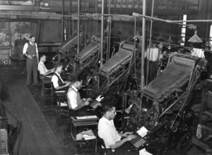 "Linotype operators in 1941, at the ""Chicago Defender"" newspaper"