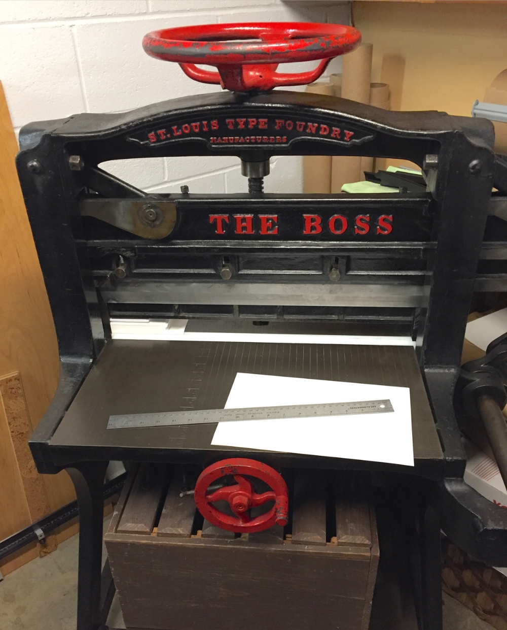 Cutting blocks of paper with our 1895 cutter.