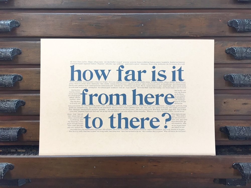 """How far is it from here to there?""  12x18 letterpress poster by Emily Hancock, $12 post-paid. For ordering, email us at stbrigidpress@gmail.com ."