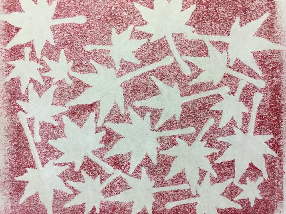When I peeled back the copy paper, the underside had this cool pattern. The leaves on the ink plate were now ready to be transferred to the book page.