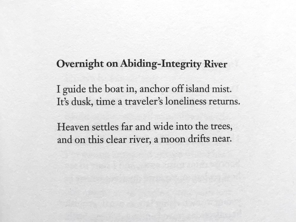 "The poem by early T'ang Dynasty poet Meng Hao-jan, from ""The Mountain Poems of Meng Hao-jan,"" translated by David Hinton (Archipelago Books)"