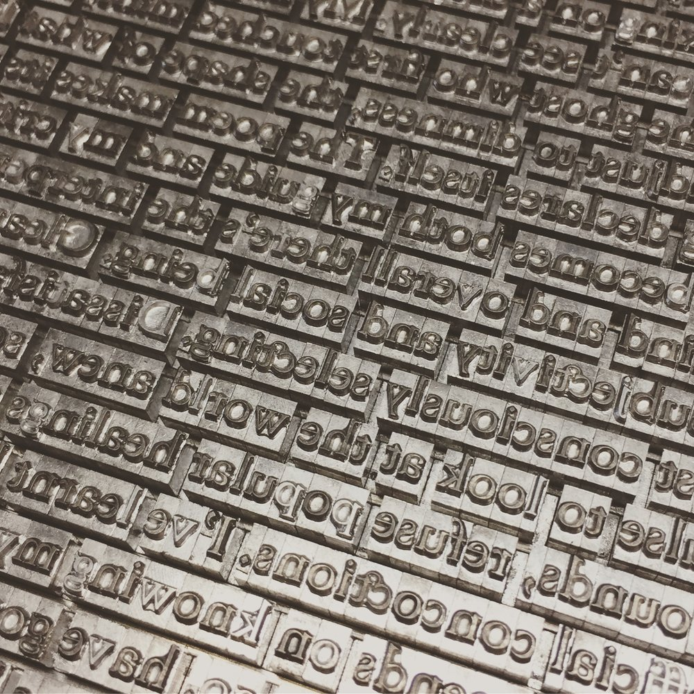 "St Brigid Press' edition of ""Permeable Membrane"" was hand-set in Goudy Old Style type (cast by  Patrick Reagh  in California), printed on a hand-cranked press, and sewn by hand."