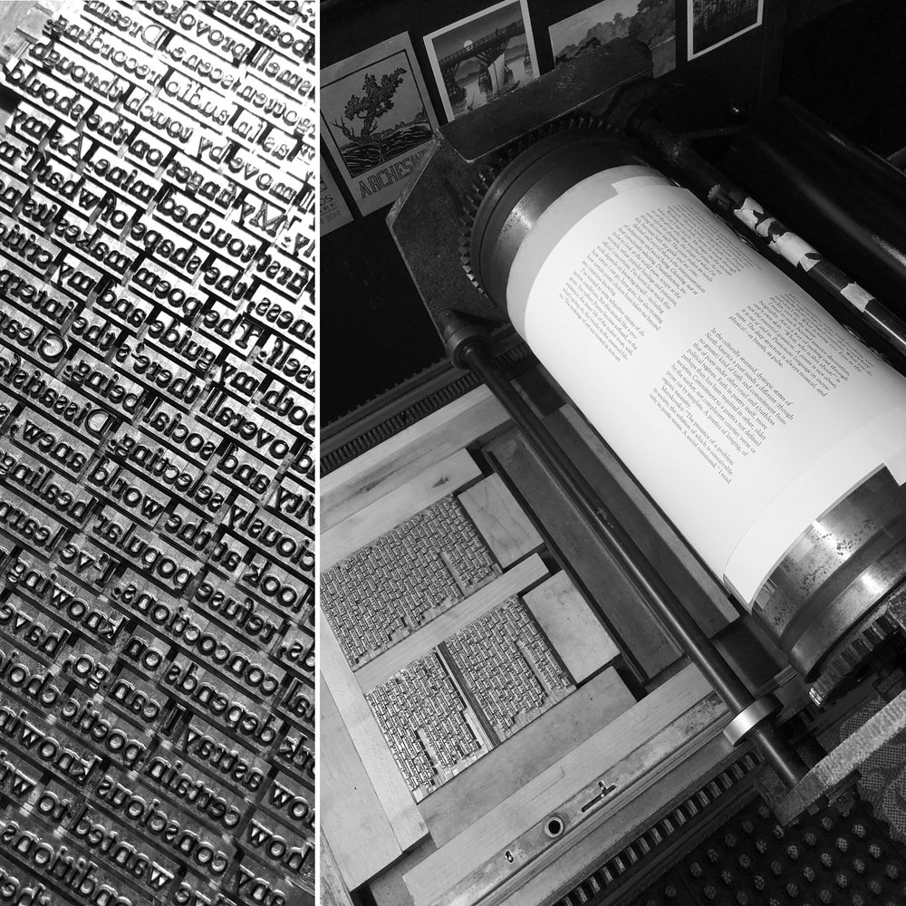 Printing the hand-set type.