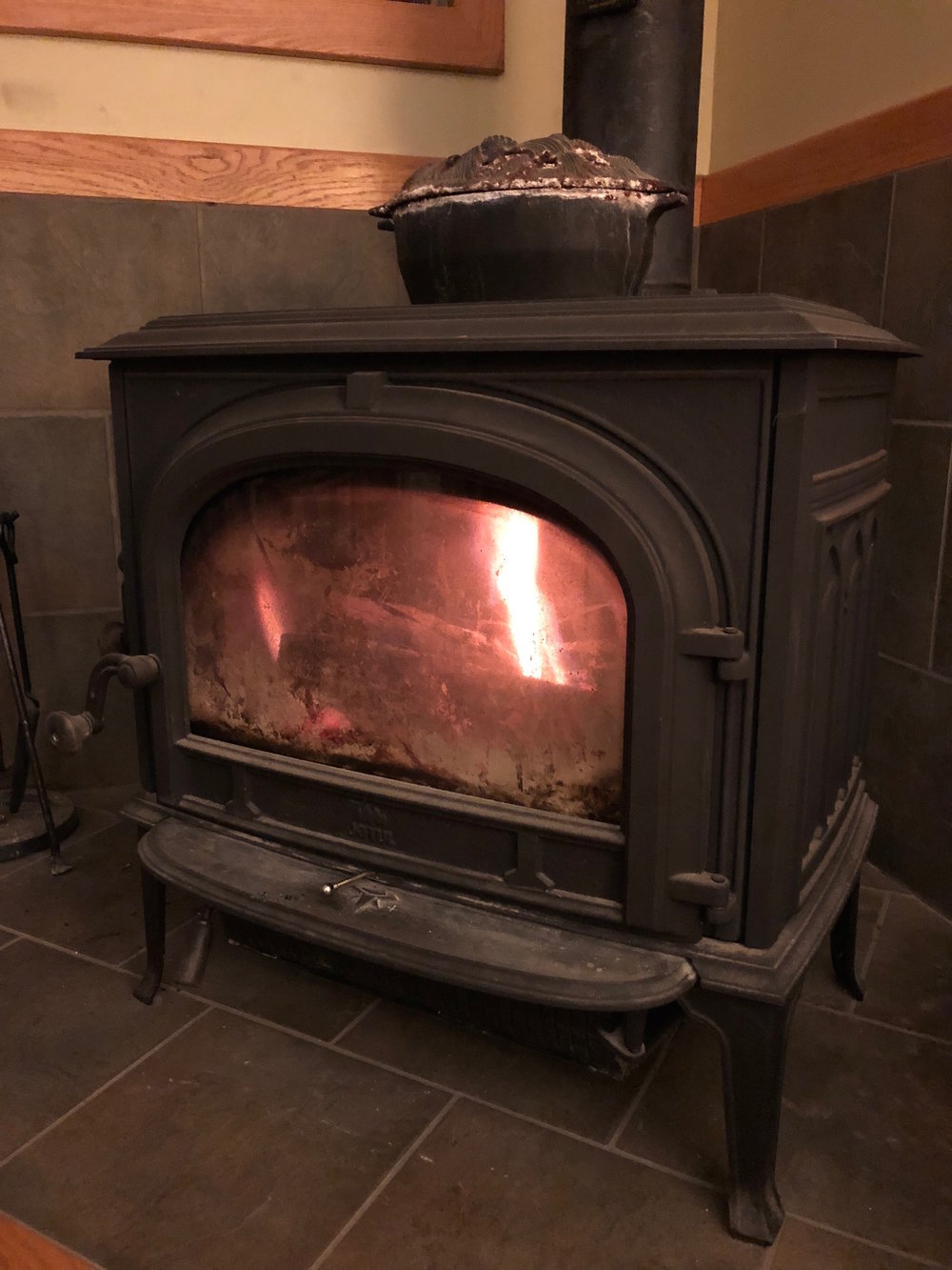 Our trusty Jøtel woodstove, warming us this chilly night.