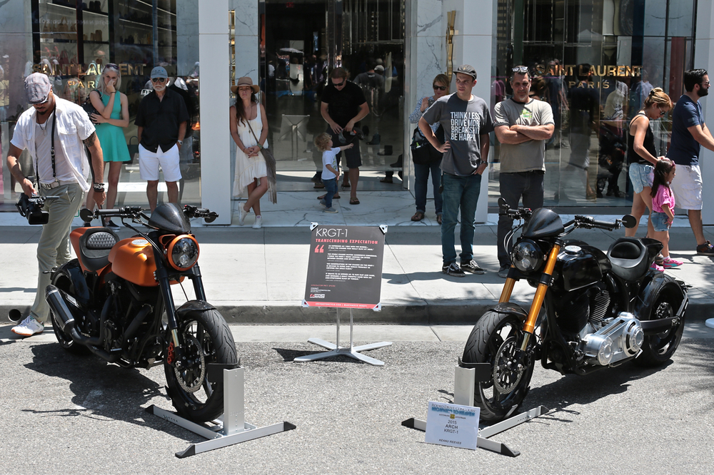 """Described as """"one of the 300 umissable events in the world"""" by Frommer's Travel Guide,the ARCH KRGT-1 was the loneproduction motorcycle on display at this year's Rodeo Drive Concours d'Elegance. The largest public event held annually in Beverly Hills."""