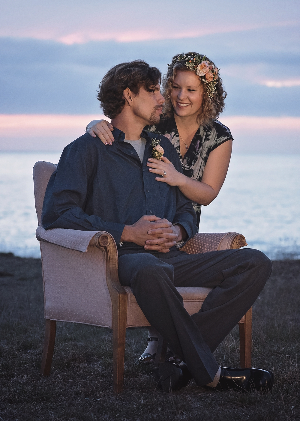 California-Sunset-North-Coast-Pink-Vintage-Chair-Lost-Coast-Shelter-Cove-engagement-bride-and-groom-to-be-tranquility-lane-flowers-ocean-pacific
