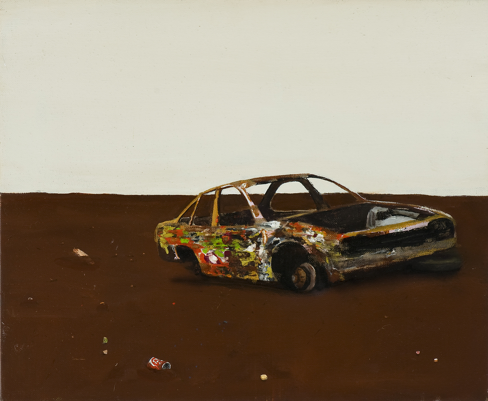 Carcuss,  2010 Acrylic, oil and automotive enamel on linen 25 x 61cm