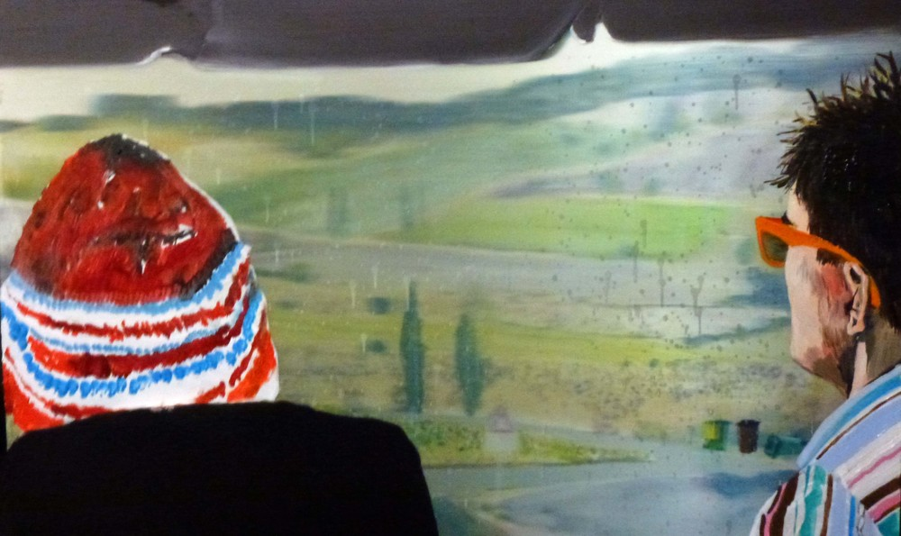 Travelling (Jim and I),  2012 Acrylic, oil and automotive enamel on lenticular print 44 x 61cm