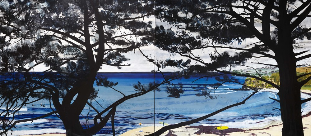 The surfers,  2013 Acrylic, oil and automotive enamel on linen 180 x 360cm