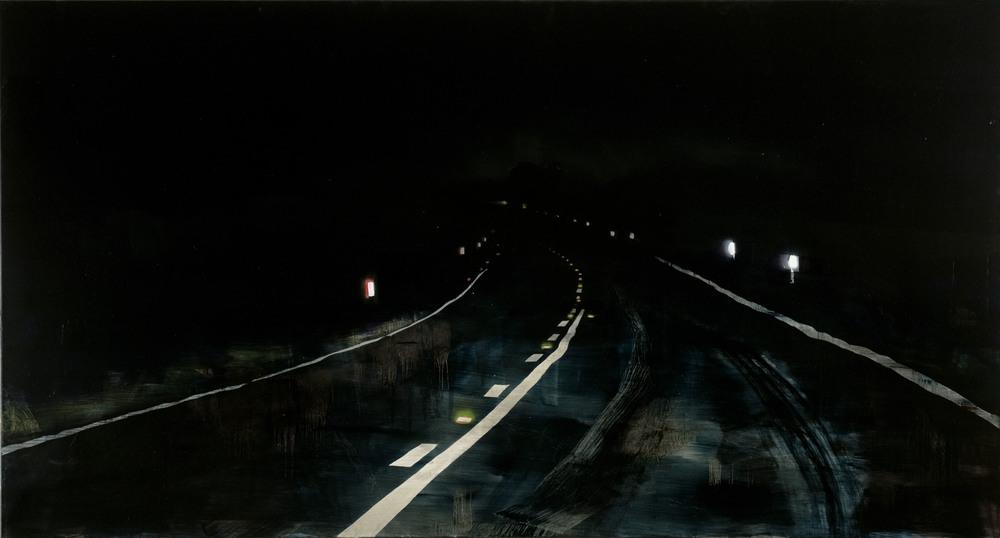 The long night,  2013 Acrylic, oil and automotive enamel on linen 140 x 260cm