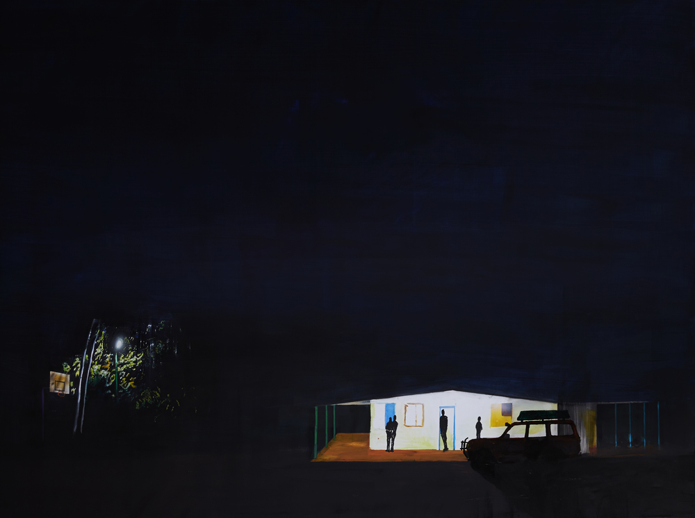 Australian Gothic/ Kintore Blues,  2015 Acrylic, oil and enamel on synthetic polymer canvas 50 x 200cm