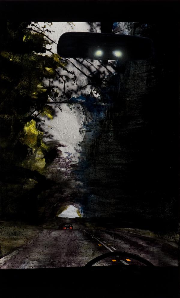 Landscape as self-portrait,  2013 Acrylic, oil and automotive enamel on linen 200 x 100cm