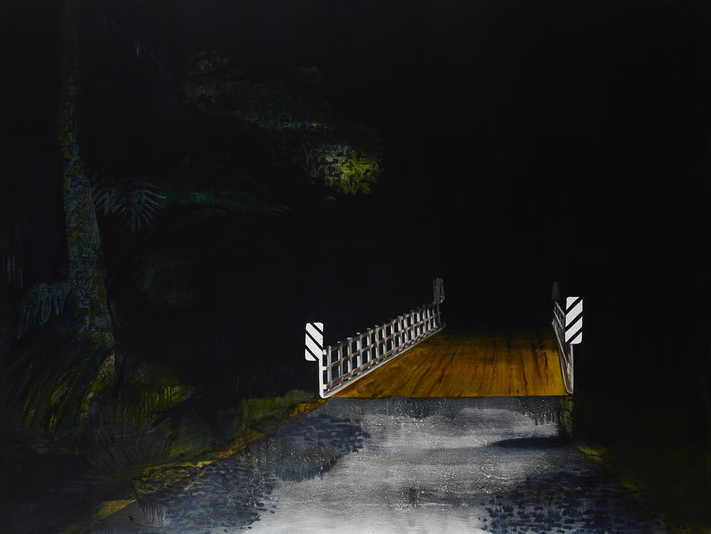 The Bridge (remembering Mullum)  Acrylic, oil and enamel on linen 150 x 200cm