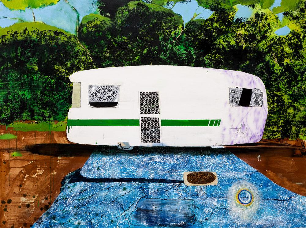 Home, 2018  acrylic oil & automotive paint on canvas  150 x 200 cm