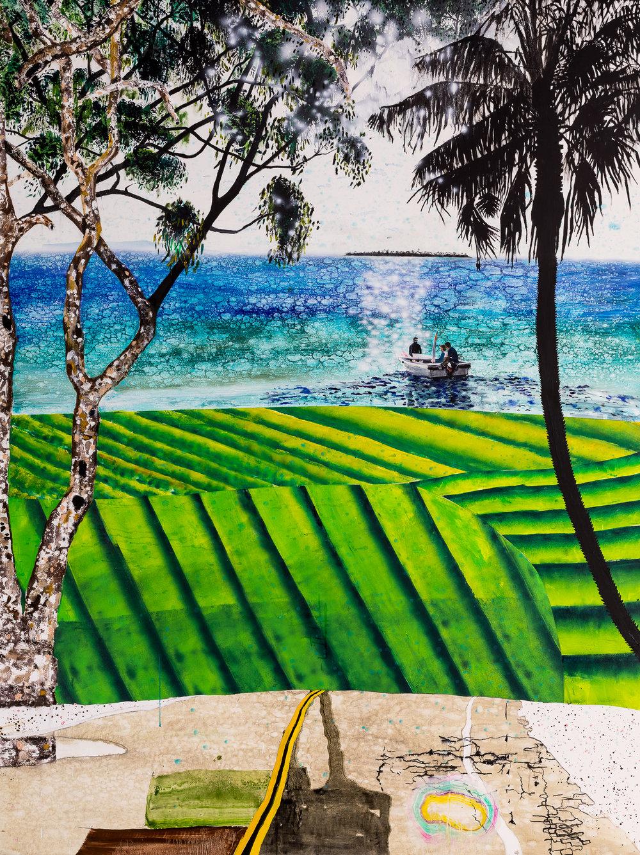 No man is an island, 2018  acrylic ochre oil & automotive paint on canvas  150 x 200 cm
