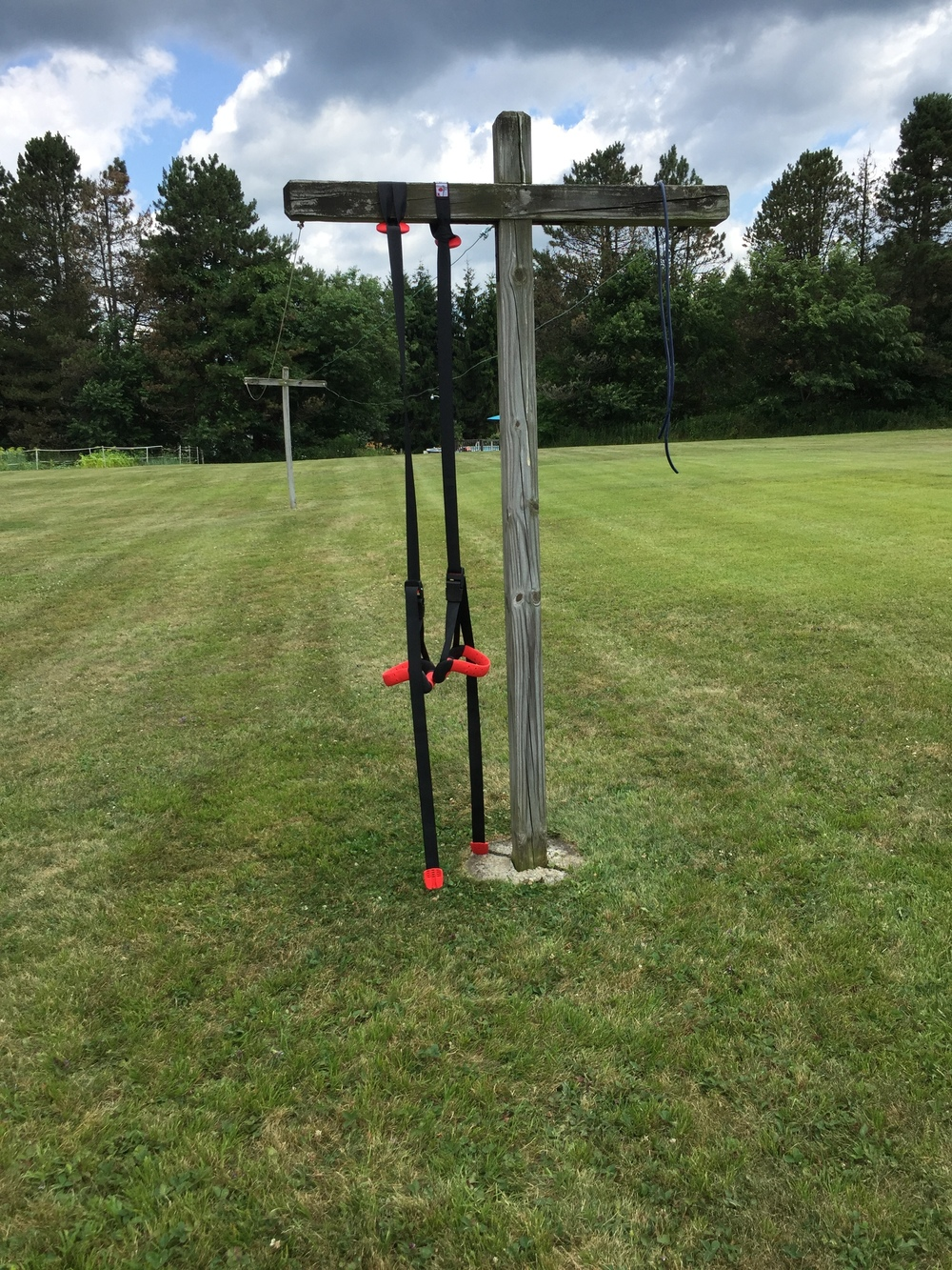 My parents clothesline pole made a perfect spot for a 20 minute circuit. No, I didn't crack the cement at the base of the pole. At least I don't think so...