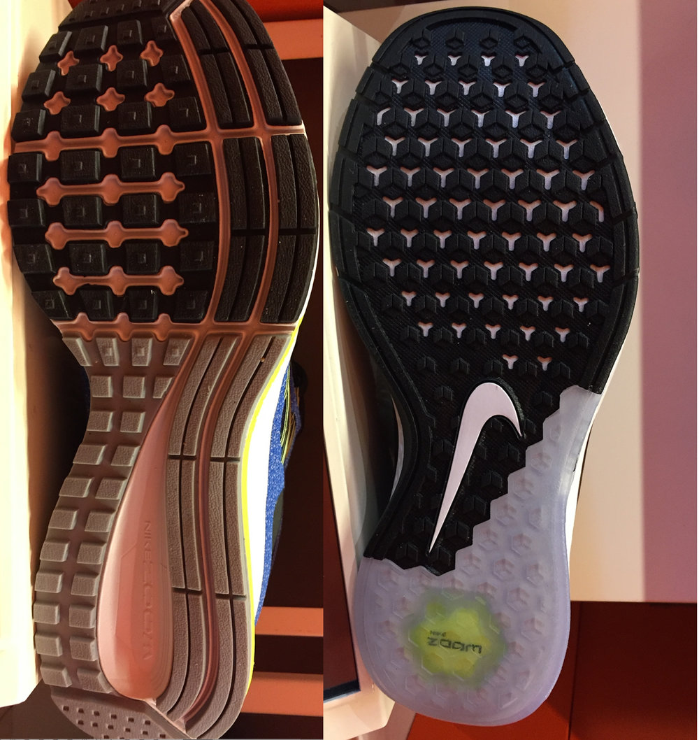 It's tougher to see in this picture, but the shoe on the left is a running shoe, while the shoe on the right is a trainer. The tread on the left is much more aggressive and still fine for wearing in the gym, while the tread on the right is designed specifically for smooth surfaces.
