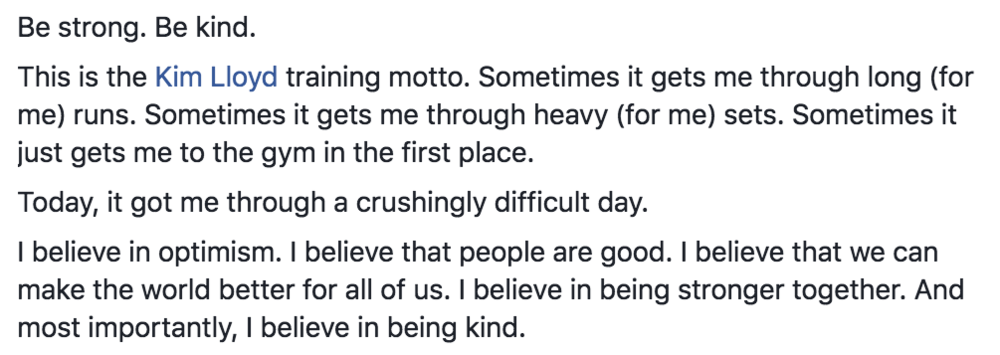 A distance client wrote this on my Facebook page yesterday. This. Kindness. Yes, this.