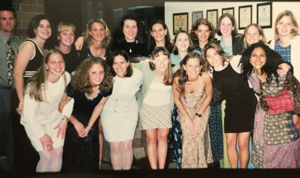 This might be the last time I wore panty hose - in 1998 with my Gannon University college lacrosse teammates. I'm third from the left on the bottom row. Yes, I had long hair...