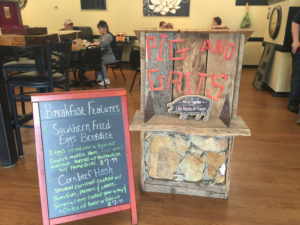 Pig & Grits in Burnsville offers delicious breakfast and southern-style BBQ options with a sauce selection that represents the many styles - mustard, sweet, vinegar and more!
