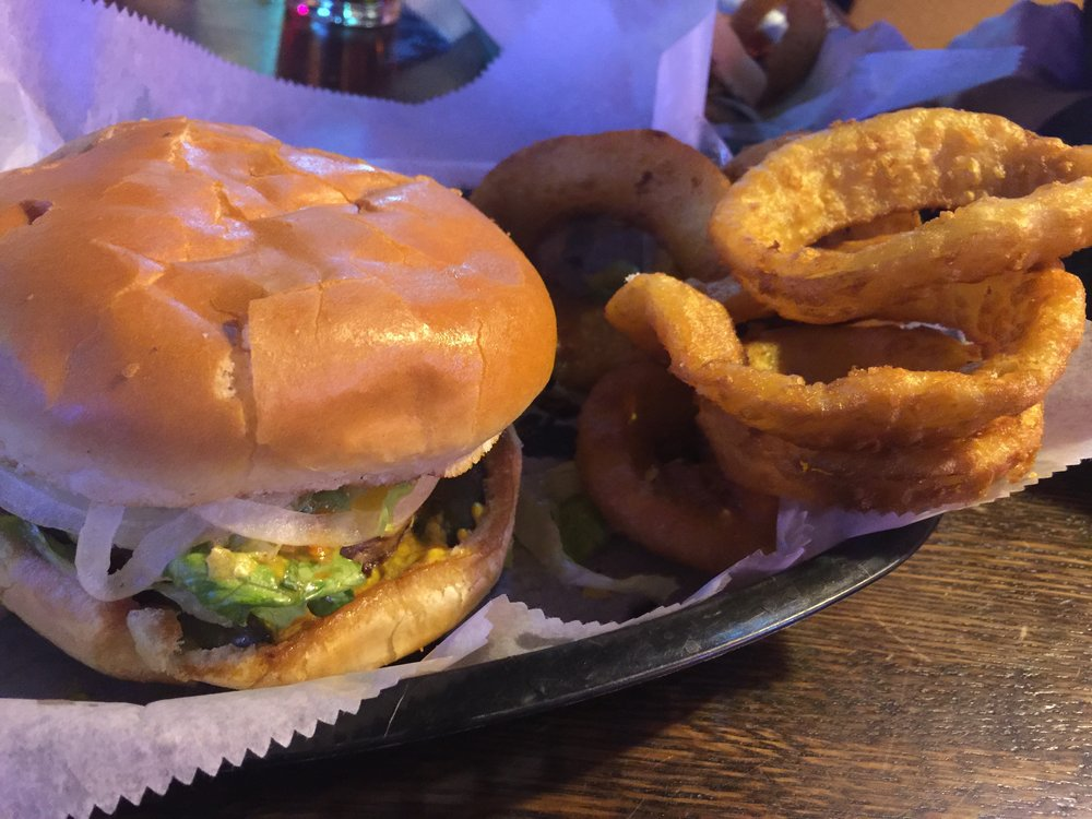 Hef's makes enormous hamburgers, great onion rings, and assortment of hot wings (our favorite is the sweet and spicy one).