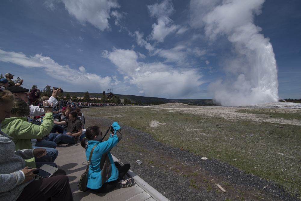 Old Faithful in Yellowstone National Park, Wyoming.