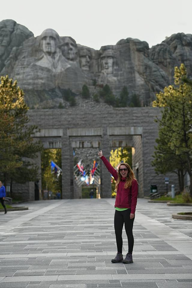 Megan Carden at Mount Rushmore, South Dakota.