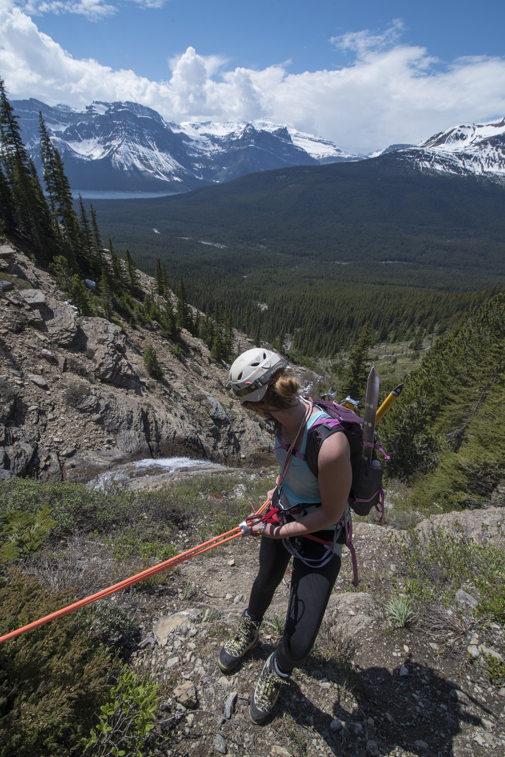 Megan repelling off Mount Hector in Banff National Park, Alberta, Canada.
