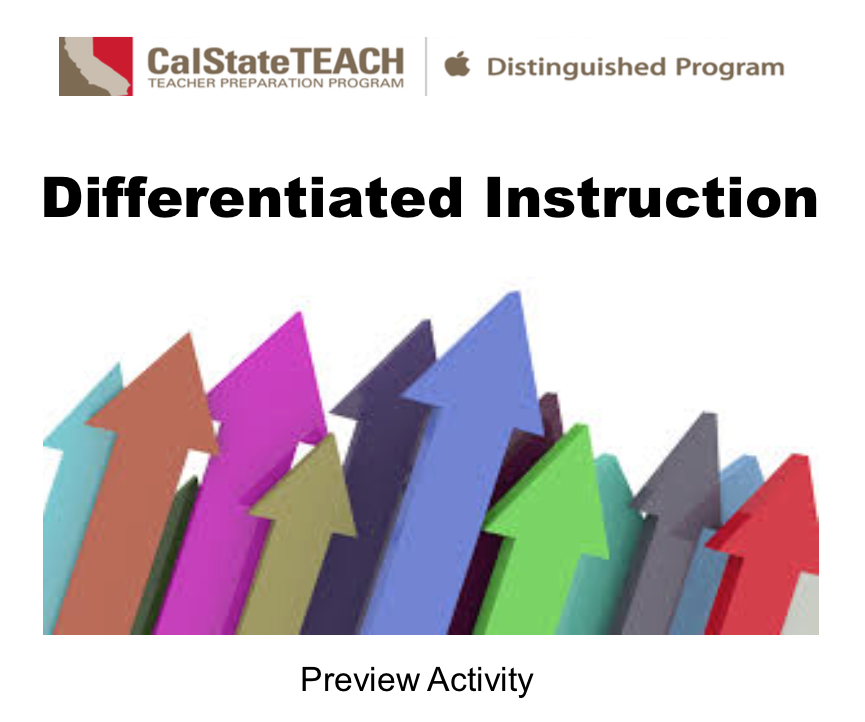 Preview Activity - Differentiated Instruction