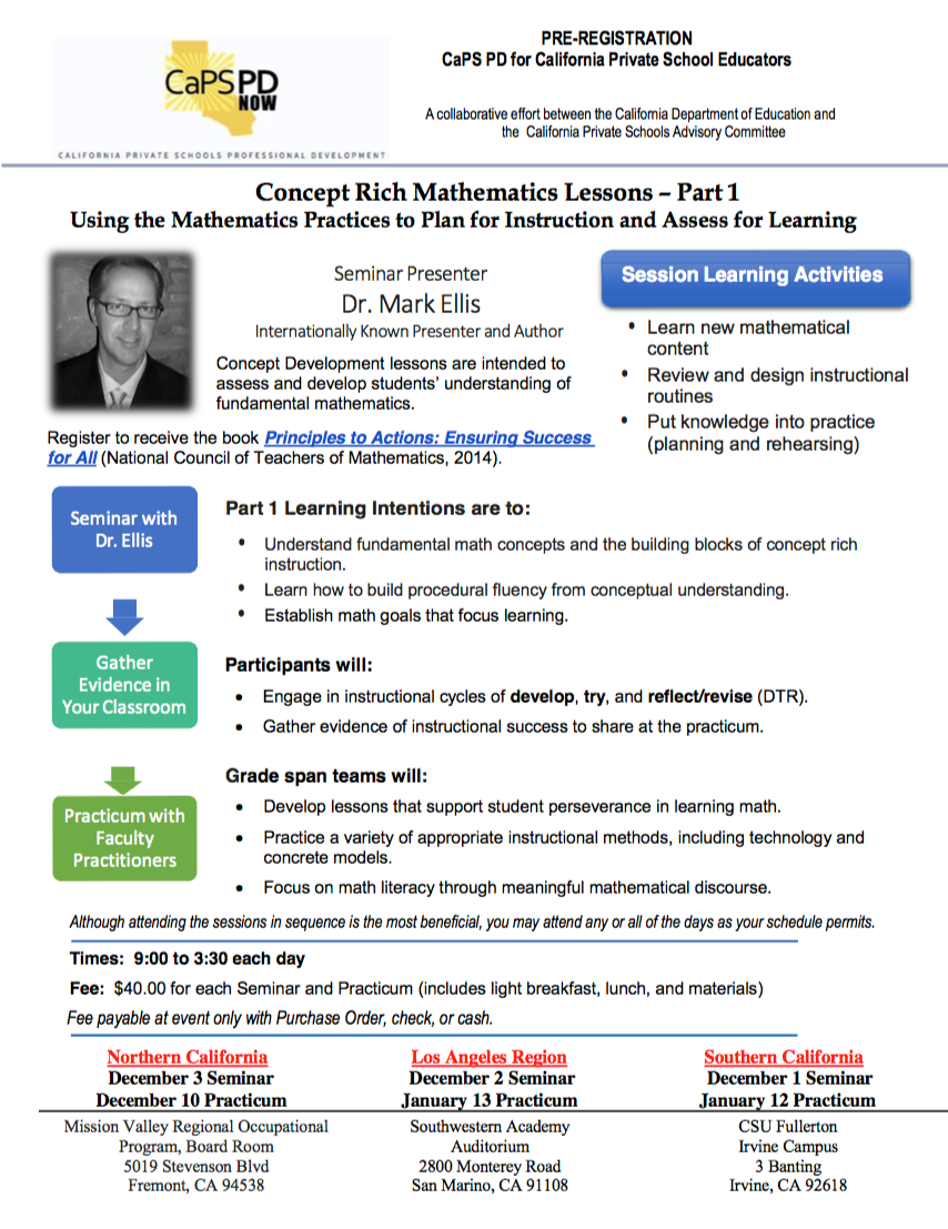Flyer for Concept Rich Mathematics Lessons: Part 1: Using Mathematical Principles to Plan for Teaching and Assess for Learning