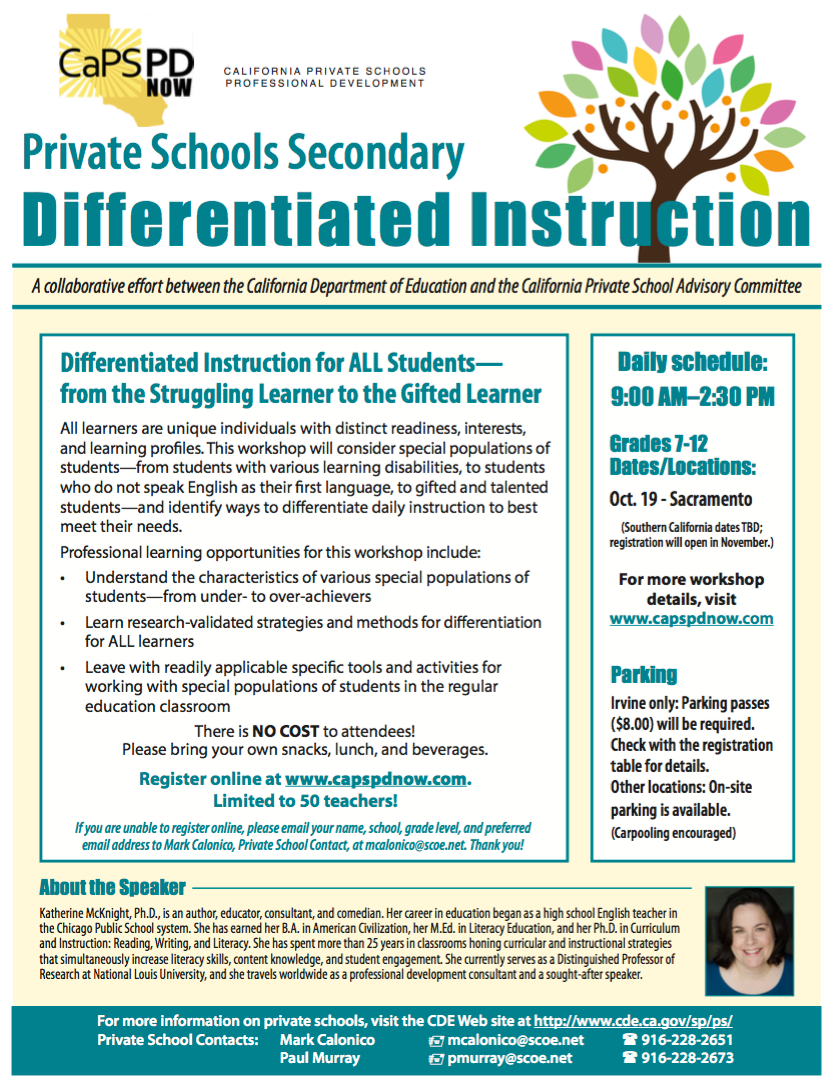 Diff Instr California Private Schools Caps Professional Development