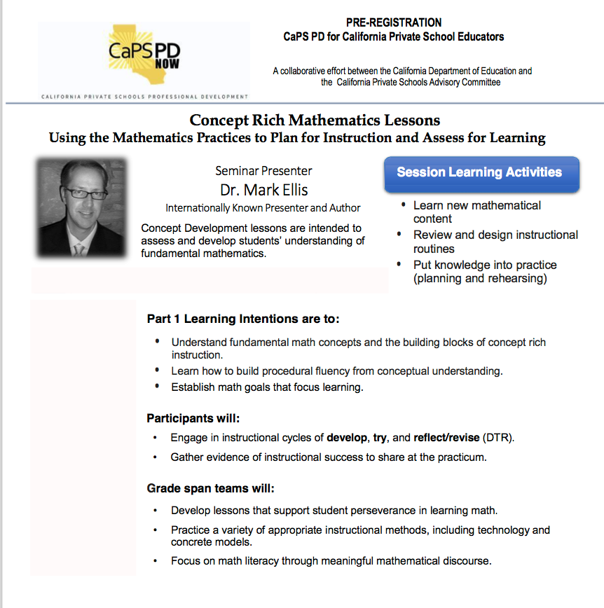 Flyer for Concept Rich Mathematics Lessons