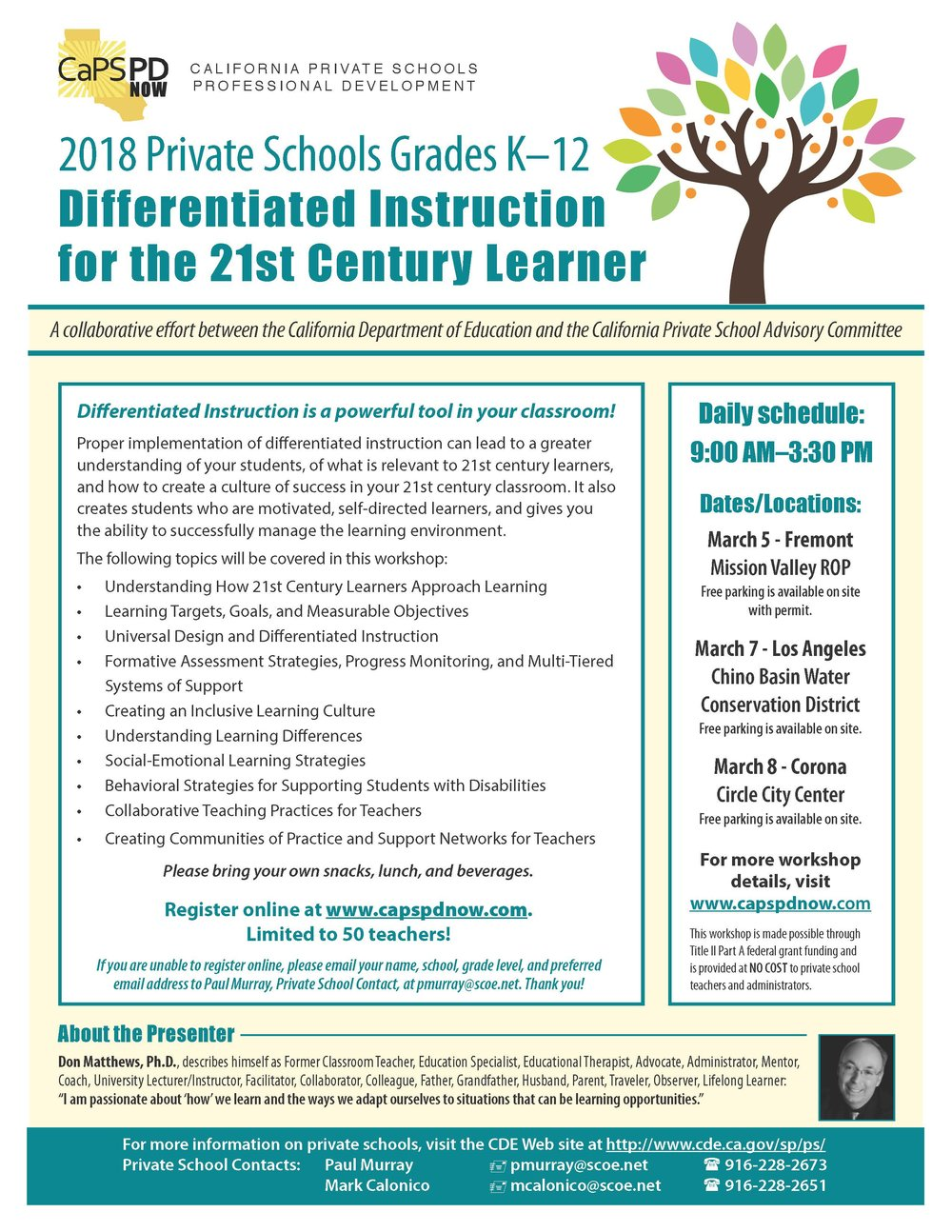 Differentiate Instruction 2018 California Private Schools Caps
