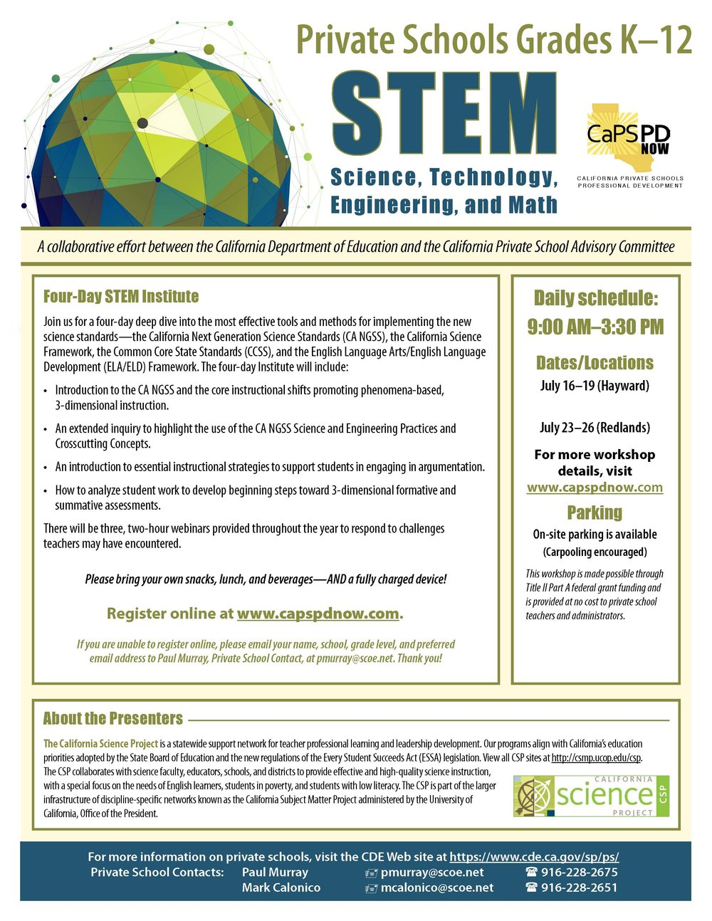 Picture of the flyer for the Summer STEM Institutes