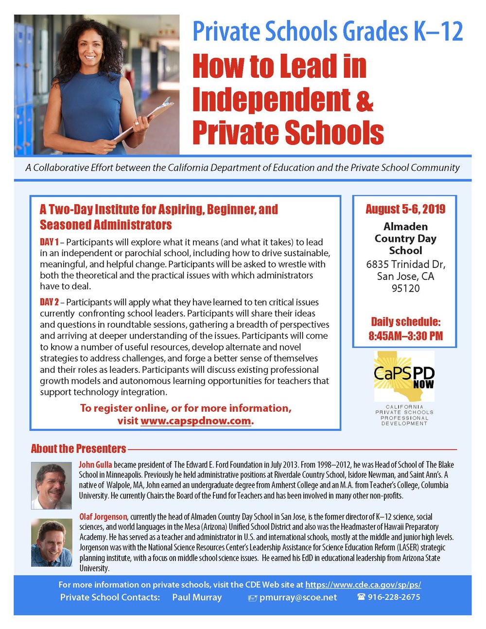 Picture of flyer for the How to Lead Independent Private Schools Workshops