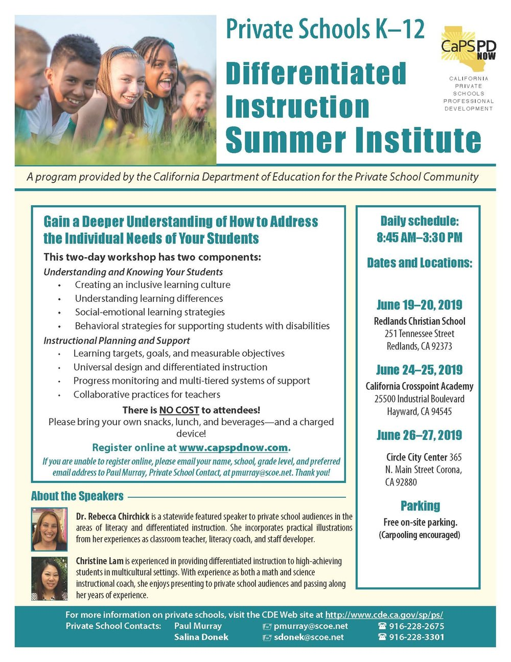Picture of the flyer for the Differentiated Instruction Institutes