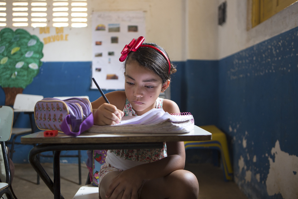 Assentamento Maria da Paz, RN, 15 de outubro de 2015 - Alunos da Escola Municipal Maria da Paz. (©Greenpeace/Otávio Almeida)
