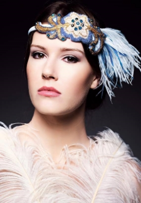 """MICHELLE""  Beaded 1920's Inspired fascinator (Bridal Piece)"
