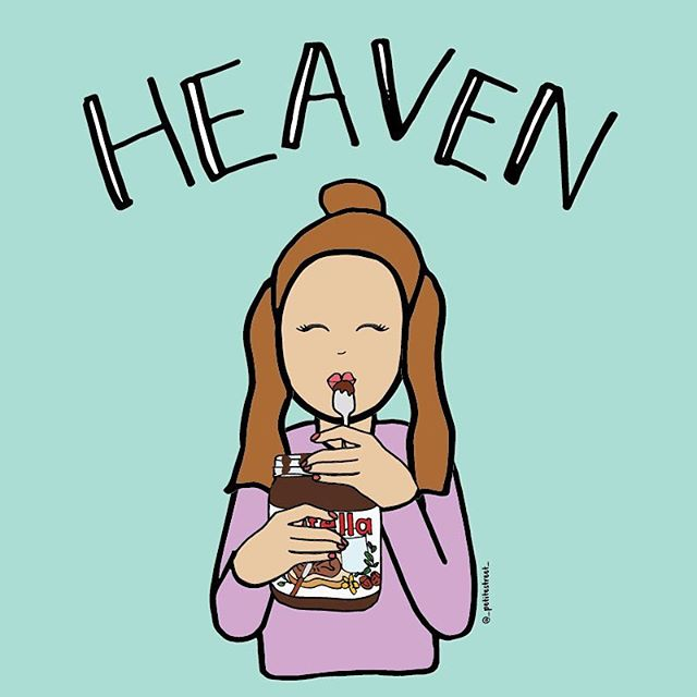 Heaven is a place on Earth when there is a spoonful of @nutella in my mouth 👄 #petitestreetdrawing
