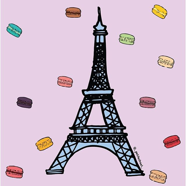 It's snack time and I wish it were raining macarons 🤤 I wouldn't say no to a balcony view of the Eiffel Tower either 😍 That's not asking for much is it? #petitestreetdrawing