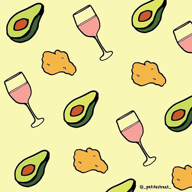 What my diet consists of. Avos, nuggets and rosé 🥑 🍷 It's all about balance, right? #petitestreetdrawing