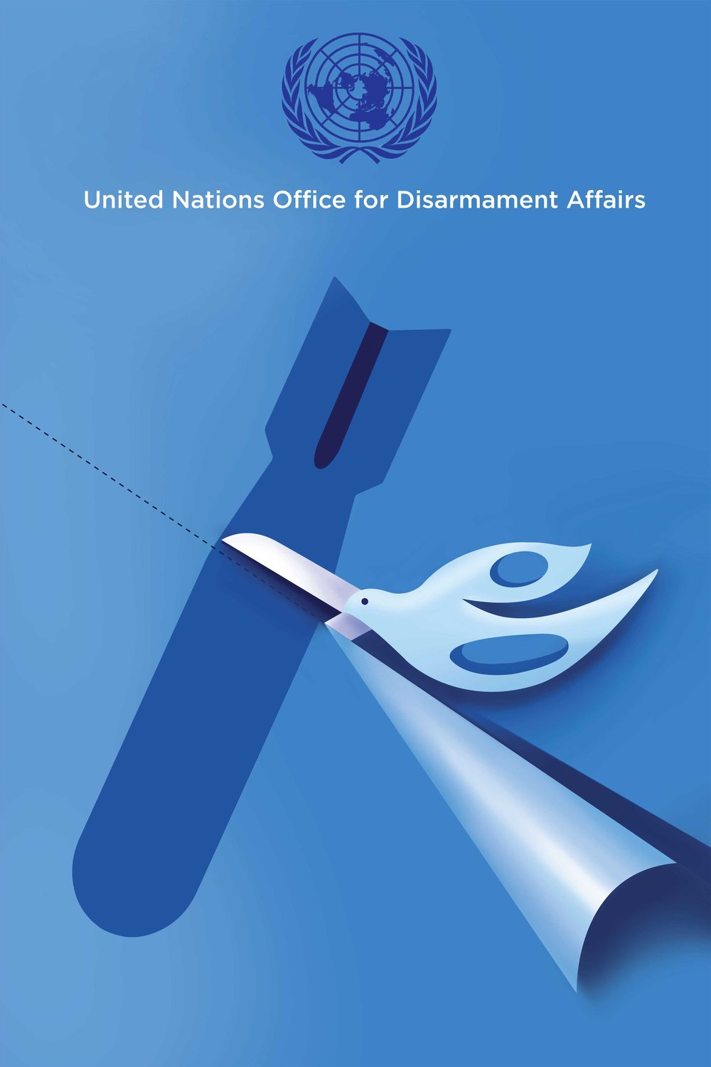 Cutting Barriers Through Peace   Cutting Barriers through Peacewas one of two posters chosen by the United Nations Office of Disarmament Affairs for their 2016 International Campaign for Nuclear Disarmament. As part of the campaign both posters were exhibited in UN offices in New York, Geneva, Vienna and Nagasaki in Japan. Currently in the permanent collection at the UN General Assembly.
