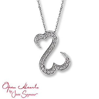 Open Hearts by Jane Seymour® Diamond Necklace Stunning round diamonds dance along the distinctive open hearts design in this lovely necklace for her. 1/4 carat total weight. Set in 14K white gold.