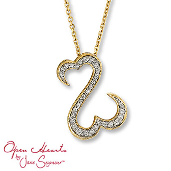Open Hearts by Jane Seymour® Diamond Necklace    Featuring the signature open hearts design sprinkled with brilliant round diamonds for breathtaking style. 1/4 carat total weight. Set in 14K yellow gold.
